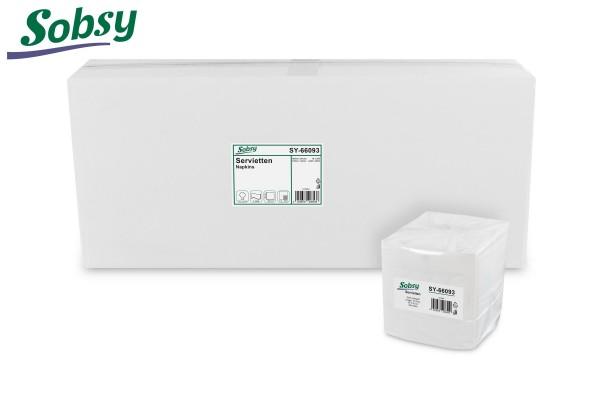 Sobsy Servietten, 32 x 32 cm, weiß, 2-lagig, 1/4-Falz, 100% Zellstoff