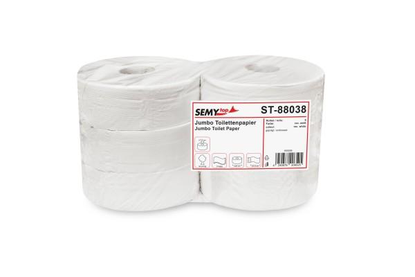 SemyTop Jumbo Toilettenpapier, 2-lagig, geprägt, Recycling, rec. weiß, Ø28cm, 6 Rollen