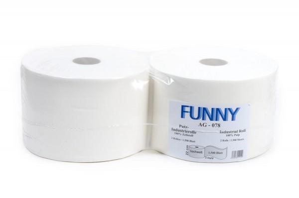 Funny Industrierolle, 2-lg., Ø 32,6 cm, 22x33 cm, Zellstoff, weiß