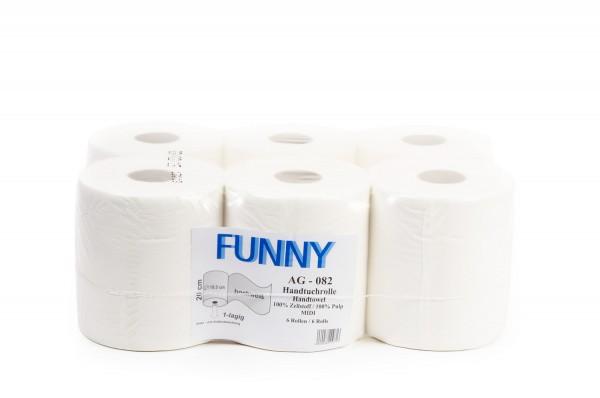 Funny Handtuchrollen, 1-lg, 20cm, Ø19cm, Innenabwicklung, hochweiß, Zellstoff, 6 Rollen