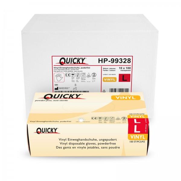 Quicky Vinyl Einweghandschuhe L, puderfrei, 1000 Stk