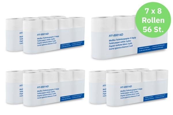 Hypafol Toilettenpapier, 3-lagig, hochweiß, 56 Rollen, 100% Zellstoff