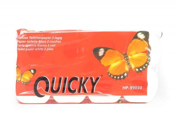 Quicky Toilettenpapier, 2-lagig, hochweiß, 100% Zellstoff