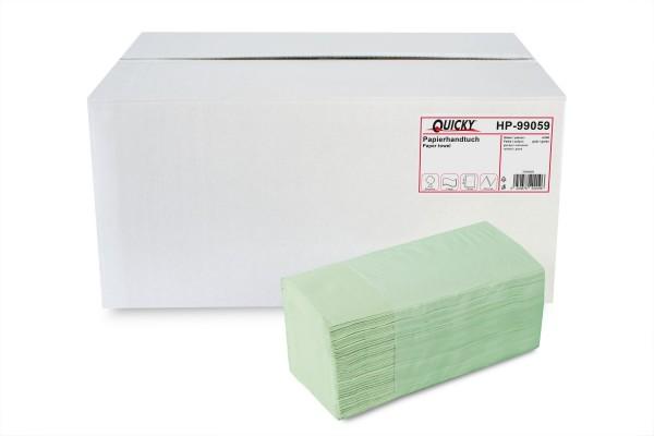 Quicky Papierhandtuch 2-lagig ZZ/V-Falz, Recycling, grün, 4.000 Stk.