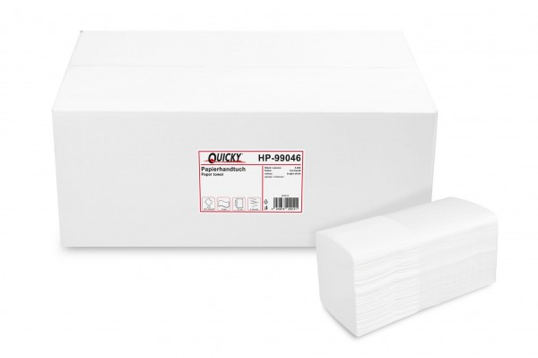 Quicky Papierhandtuch 2-lagig Multifold, Zellstoffpapier, hochweiß, 3.200 Blatt