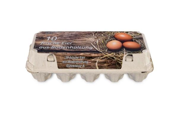 Eierschachteln für 10 Eier, weiß mit Aufdruck Bodenhaltung, 154 Stück