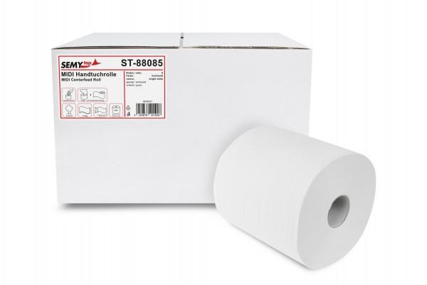 SemyTop Handtuchrollen, 2-lg, 20x30cm, perforiert, Ø19cm, Innenabwicklung, hochweiß, Zellstoff, 6 Rollen