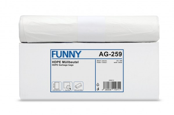 "Funny Müllbeutel, weiß, 18 Liter, 1.000 Stück, ""extra"""