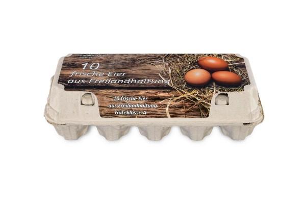 10er Eierschachteln, weiß mit Aufdruck Freilandhaltung
