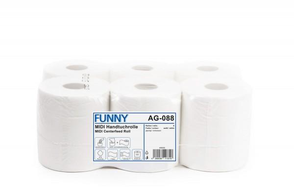 Funny Handtuchrollen, 1-lg, 19x22cm, perforiert, Ø19cm, Innenabwicklung, weißlich, Recycling, 6 Rollen