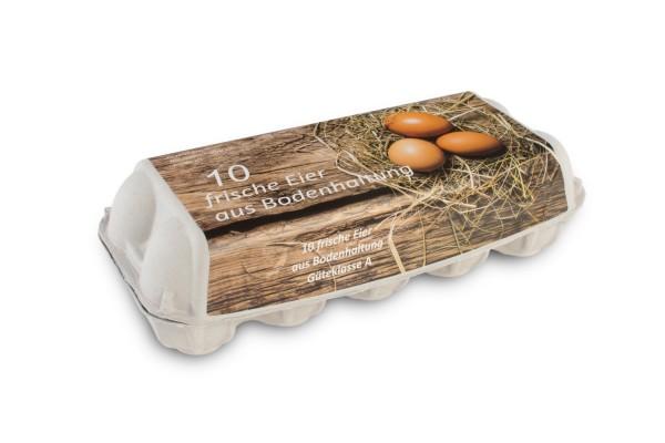 10er Eierschachteln, weiß mit Aufdruck Bodenhaltung