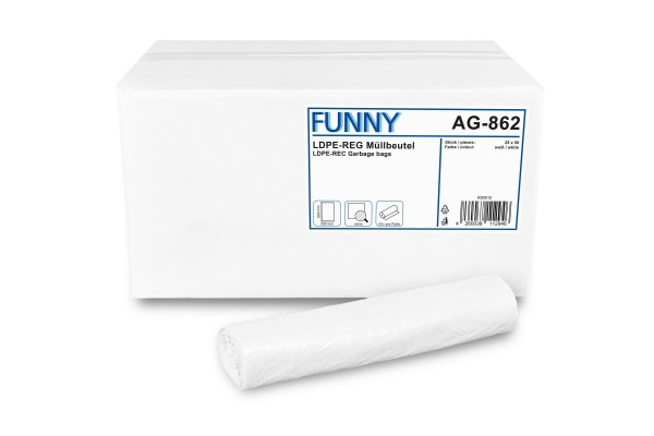 "Funny Müllbeutel, weiß, 30 Liter, 1.250 Stück, LDPE-Reg. ""extra"""