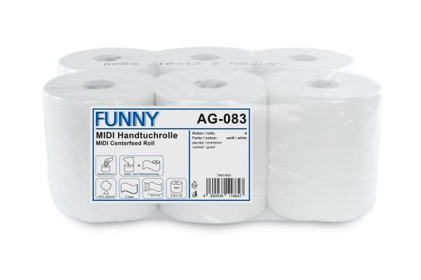 Funny Handtuchrollen, 2-lg, 20x23,5cm, perforiert, Ø19cm, Innenabwicklung, hochweiß, Zellstoff