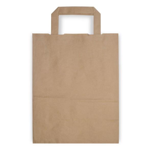 Papiertragetaschen mit Henkeln | 220x100x280mm | braun | stabile Ausführung | 80 g/qm | Kraftpapier