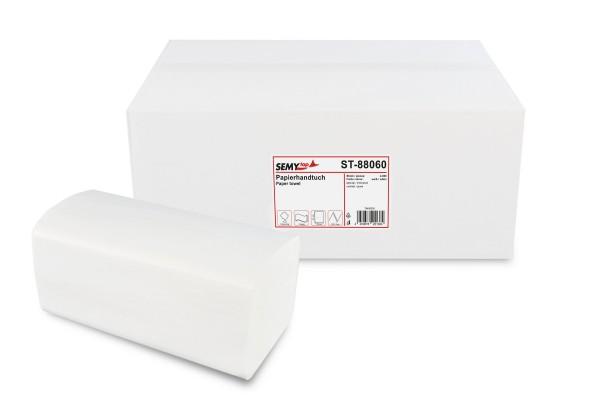 SemyTop Papierhandtuch 2-lagig ZZ/V-Falz, Recycling, weiß, 4.000 Stk.