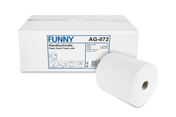 Funny Handtuchrolle, 2-lagig, 100% Zellstoff, hochweiß, geprägt, verleimt, 20 cm, Ø19 cm, 130 lm, 6 Rollen/Karton