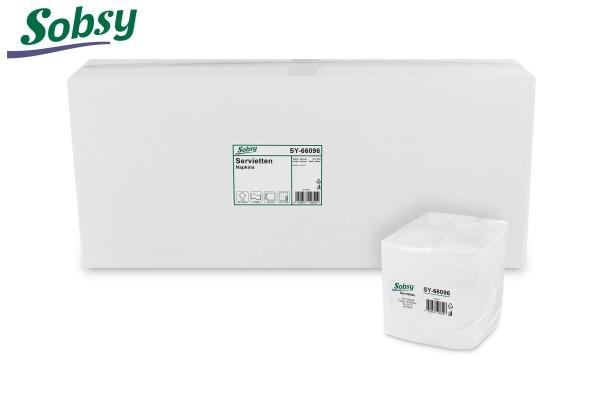 Sobsy Servietten, 32 x 32 cm, weiß, 2-lagig, 1/8-Falz, 100% Zellstoff