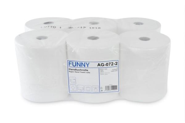 Funny Handtuchrolle, 2-lagig, 100% Zellstoff, hochweiß, geprägt, verleimt, 21 cm, Ø19 cm, 130 lm, 6 Rollen