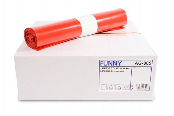 Funny Müllsäcke, rot, 120 Liter, 250 Stück, LDPE-Reg.