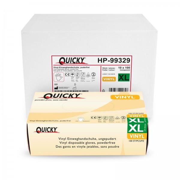 Quicky Vinyl Einweghandschuhe XL, puderfrei, 1000 Stk