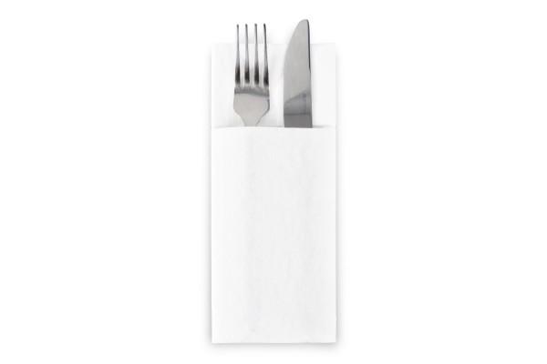 SemyTop Bestecktaschen, 32 x 40 cm, weiß, Airlaid, 1/8-Falz, 1.250 Stück