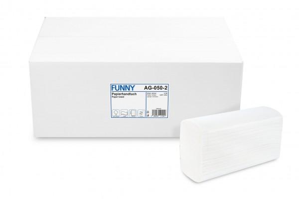 Funny Papierhandtuch 2-lagig Z-Falz, Zellstoff, hochweiß, 3.750 Stk.
