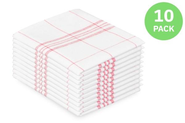 SemyTop Geschirrtuch, 100% Baumwolle, 50 x 70 cm, rot, 10 Stück