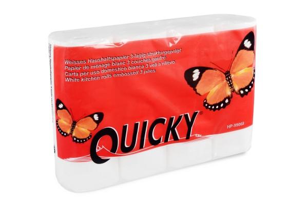 Quicky Küchenrolle, 3-lagig, Zellstoff, hochweiss, saugstark & weich