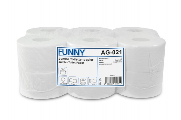 Funny Jumbo Toilettenpapier, 2-lagig, geprägt, Zellstoff, hochweiß, Ø18cm, 12 Rollen