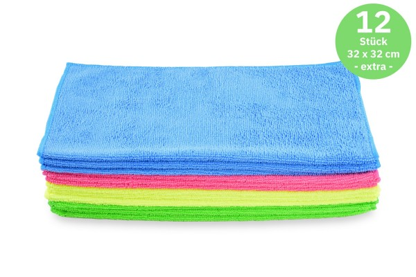 SemyTop Mikrofasertücher extra, gemischte Farben, 32x32cm, 12 Stück