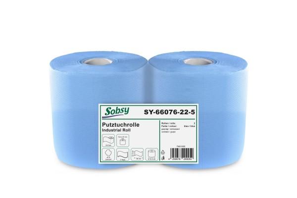 Sobsy Industrierolle, 2-lg., Ø 25 cm, 21,5x36 cm, Zellstoff, blau