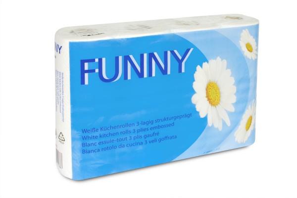 Funny Küchenrolle, 3-lagig, Zellstoff, hochweiss, saugstark & weich